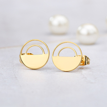 Stainless Steel Geometric Circle Stud Earrings Hollow Half For Women Girls Jewelry Accessories Wholesale