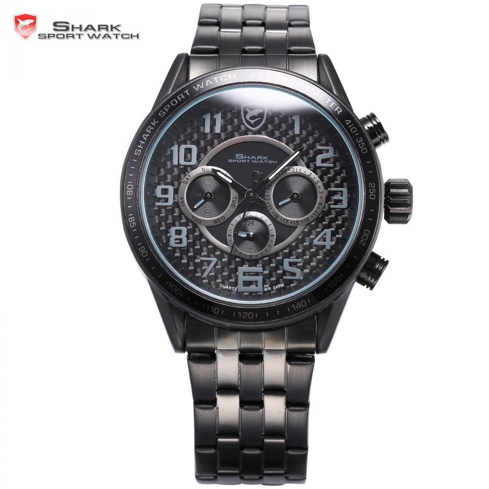 Blackspot Shark Sport Watch Black Dual Time Auto Date Steel Band Gents Military Reloj Hombre Mens Quartz Wrist Timepiece /SH368 shark sport watch dual time auto date