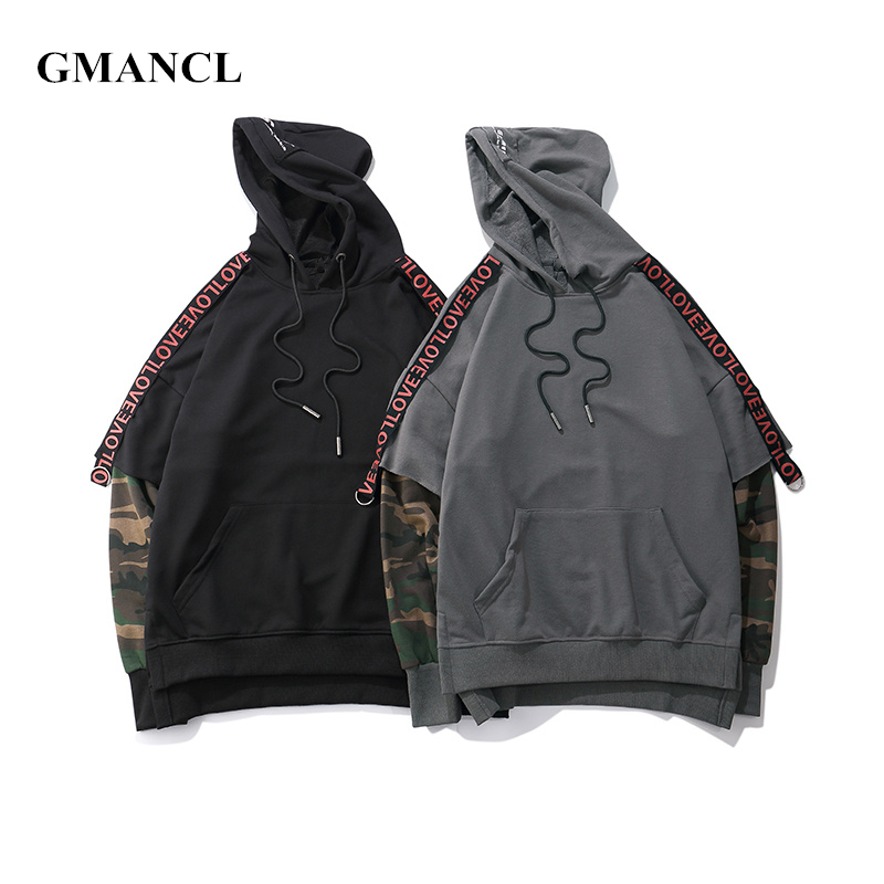 men autumn hoodies hip hop camouflage hooded