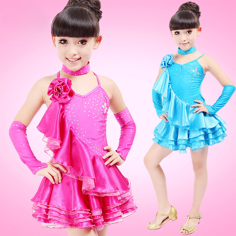 Rose/Blue/Yellow Tango Clothes Saia Social Girls Fringe Latin Dress XS-XXL Dress Latina Ballroom Tutu Dancing Children Costumes