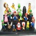 18 pçs/set yoshi dinosaur Super Mario Bros Ação PVC toy Figuras Peach toad Goomba SuperMario Atacado