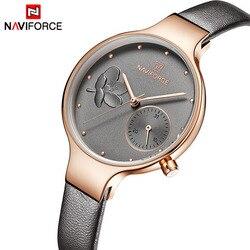 78d5e6f8418 NAVIFORCE Mulheres Relógios Top Marca de Luxo Relógio de Pulso de Quartzo  de Couro Das Senhoras