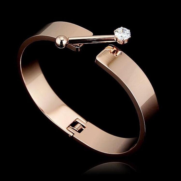 2016 Fashion New Design Rose Gold Color Single Cubic Zircon Rail ...