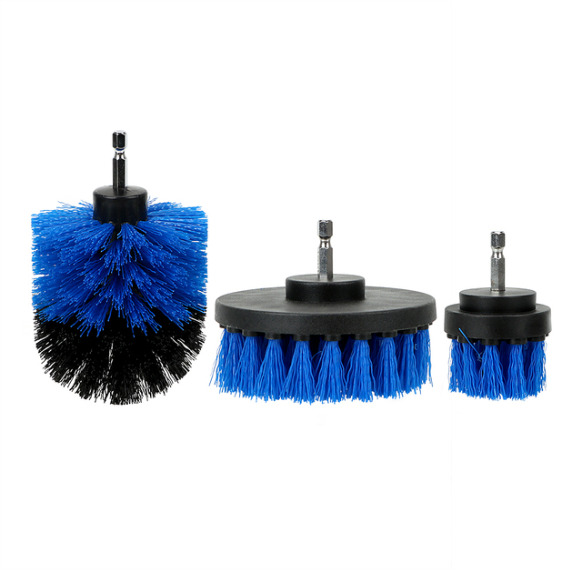 3pcs/set Car Cleaning Tool Auto Detailing Cleaning Hard Bristle Car Auto Care Car Brush Drill Scrubber Brush Kit 4