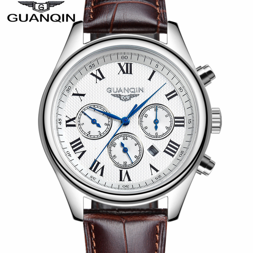 Casual Wristwatch Men Business GUANQIN Brand Leather Stainless Steel Analog Date Quartz Man Watch Men s