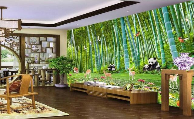 Benutzerdefinierte Foto 3d Tapete Wandaufkleber Bambus Panda Baby