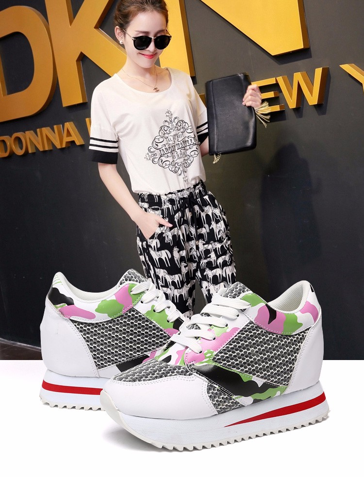 KUYUPP 2016 Fashion 4cm Hide Heels Women Casual Shoes New Breathable Mesh Flat Platform Women Shoes High Top Wedges Shoes YD108 (1)