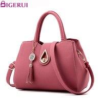 DIGERUI Women Handbag Bag Ladies Tassel High Quality PU Leather Totes Bags Brief Women Shoulder Bag