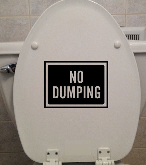 No Dumping Sign Quotes Toilet Seat Sticker Vinyl Home Decor Bathroom WC Text Decals Removable Waterproof Word Murals 3517