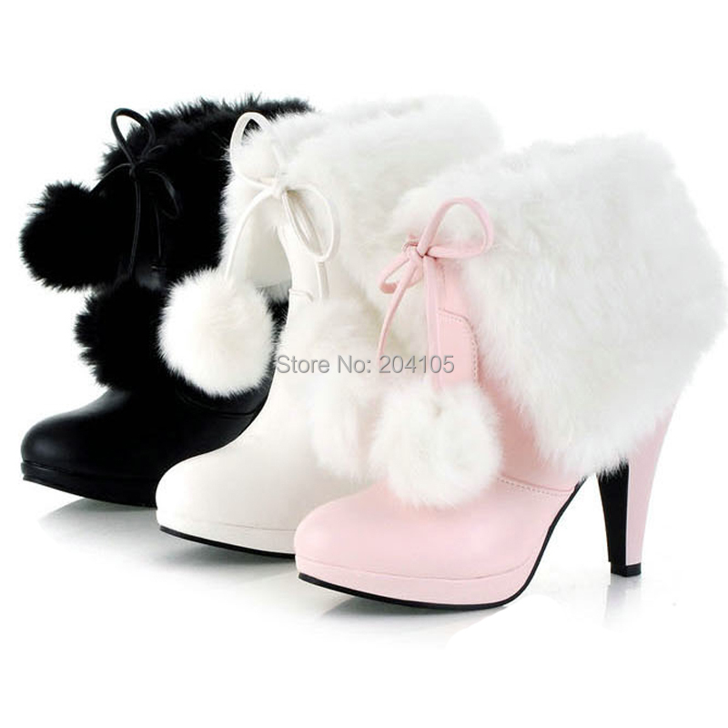 New Winter Fashion Women S Fur Motorcycle Boots High Heel