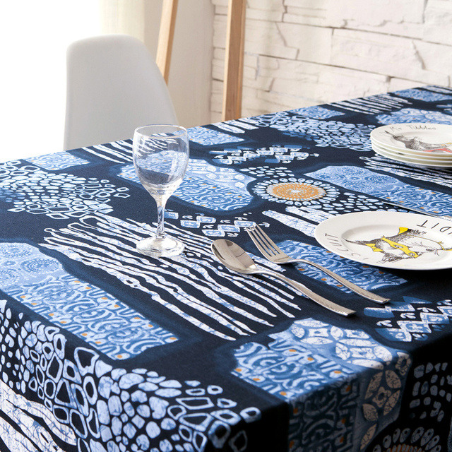 Ancient Chinese Folk Style Blue And White Linen Tablecloths Fabric Table  Cloth Tablecloth Computer Background Cloth
