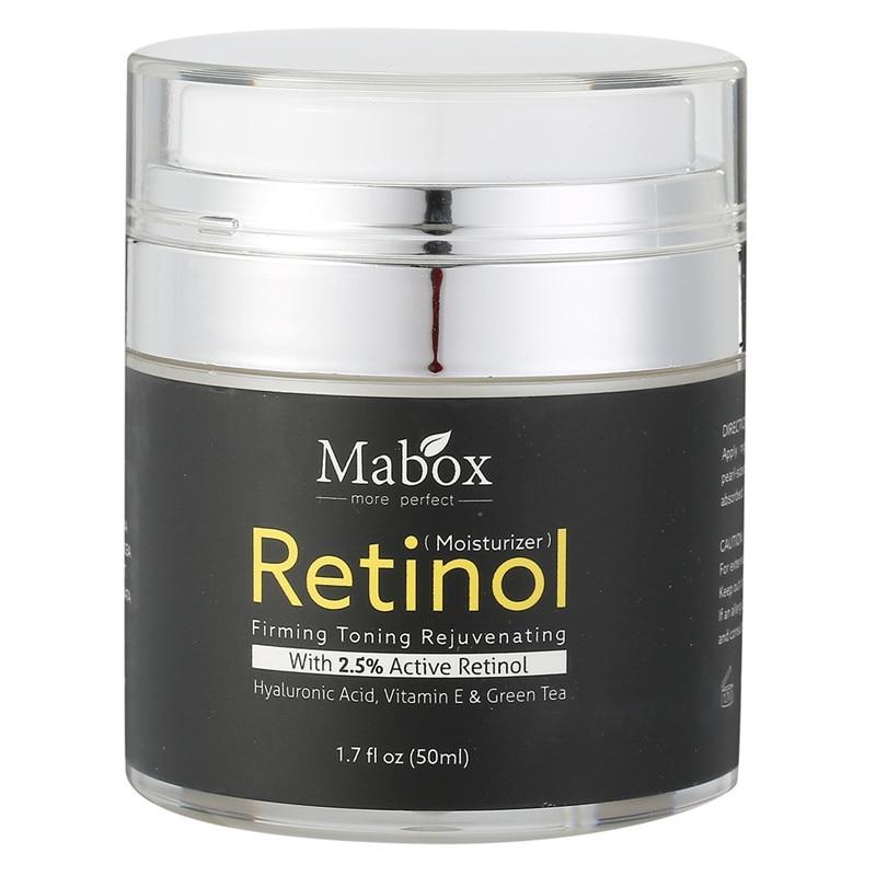 Retinol 2.5% hidratante Cara crema vitamina E colágeno Retin anti envejecimiento arrugas acné ácido hialurónico blanqueamiento té verde crema