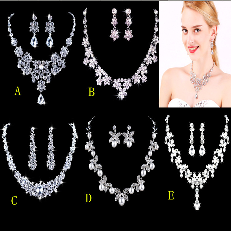 Womens Wedding Jewellery Sets Fashion Bride Earrings Pendant Necklace+earrings Jewelry W ...