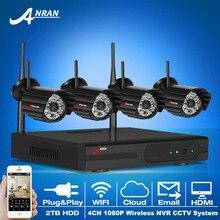 Подключи И Играй 4CH WI-FI NVR Комплект 1080 P 2.0 Мегапикселей HD Открытый 48IR Ночного Vison Ip-камера Видеонаблюдения Система 2 ТБ HDD