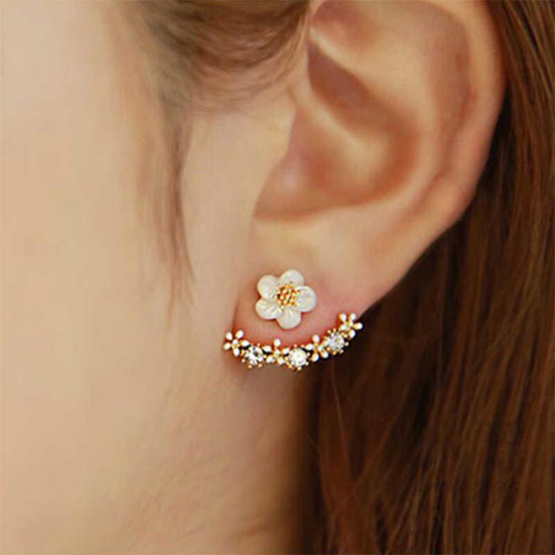 1bef75cbf Korean Style Cute Silver Rose Gold Crystal Flower Ear Piercing Stud  Earrings Women Rhinestone Earing Fashion