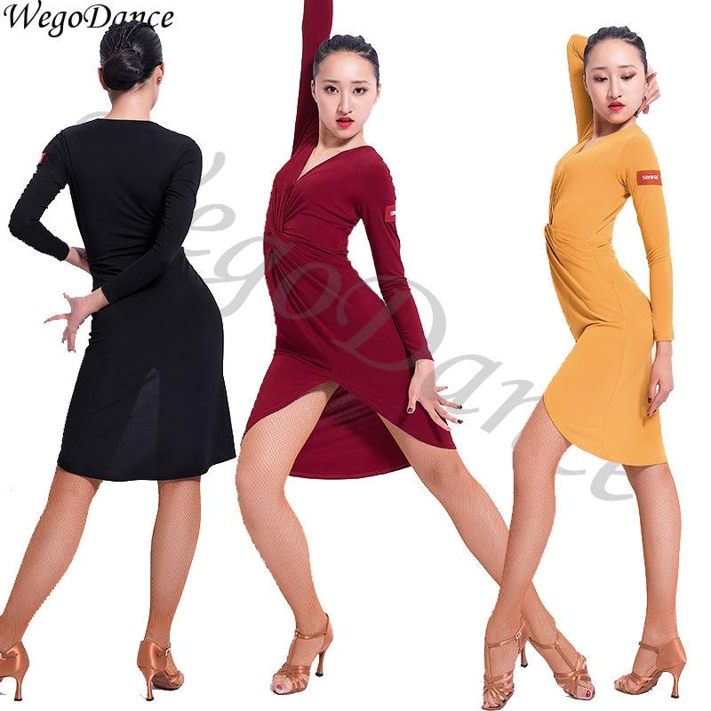 Latin dance v-neck dress long sleeve dance dress dance practice clothes woman freeshipping