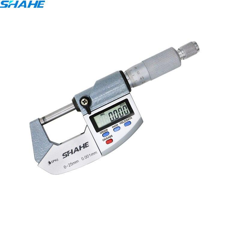 Шахе Высокая точность IP65 0-25 мм 0,001 мм Микрометр Водонепроницаемый цифровой Вне микрометр цифровые электронные микрометр