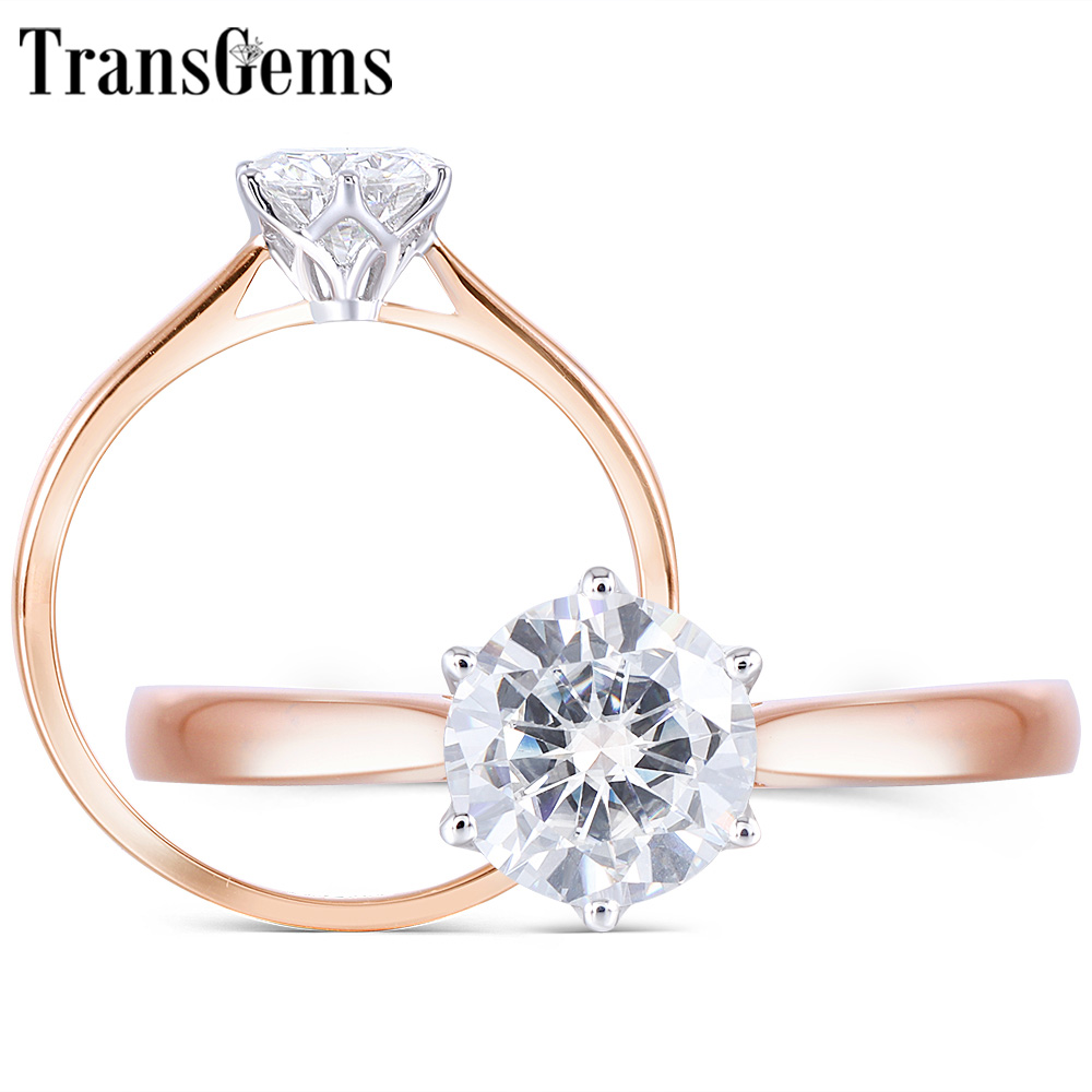Transgems Elegant 14K White Gold Flower Shape Rose Band Center 0.8ct 6mm F Color Solitaire  moissanite Engagement Ring