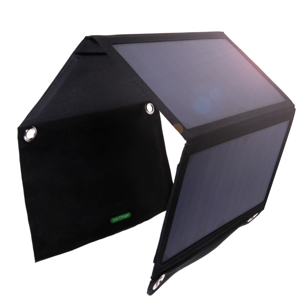 5V 2A Foldable USB <font><b>Solar</b></font> Battery <font><b>Charger</b></font> 23.5% Efficiency Dual USB Power Supply Sunpower Battery Charging Panel for Mobilephone