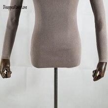 DisappeaRanceLove Marque automne moyen-long élastique chandail à manches longues chandail femelle pull col roulé chandail