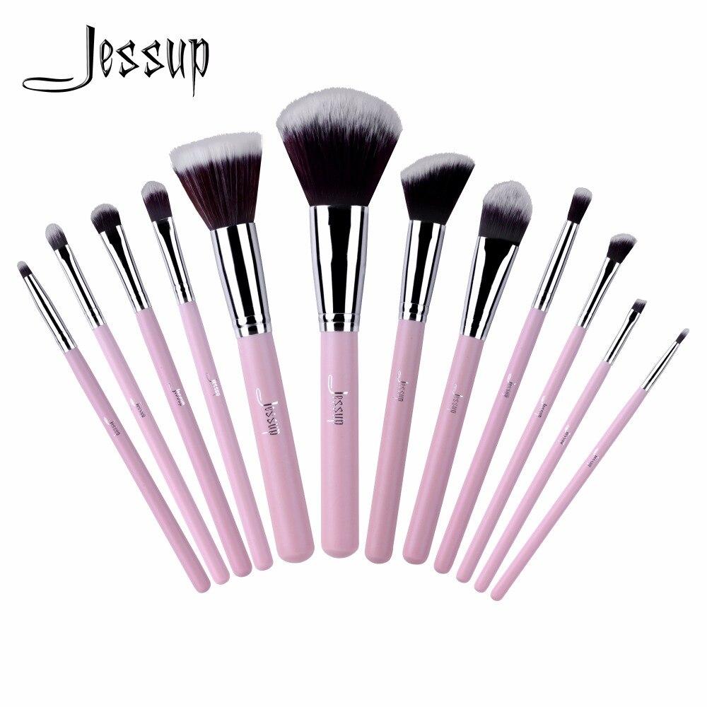 2017 jessup brushes 12pcs Pro Makeup Cosmetic Set Eyeshadow Foundation Wood Brush Blusher Tools Set T067