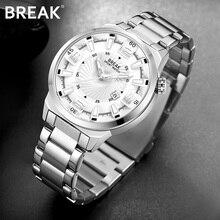 BREAK Men Top Luxury Brand Stainless Steel Band Fashion Casual Analog Quartz Sports Wristwatches Calendar Dress
