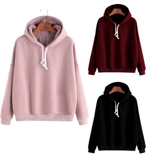 Womens Casual Solid Sweatshirt Hoodie Long Sleeve  Cute Pullover Coat