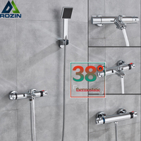 Chrome Thermostatic Shower Faucet Wall Mounted Handheld Shower Mixers with Bracket Constant Temperature Bathroom Shower Tap