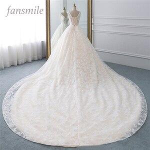 Image 1 - Fansmile Luxury Lace Long Train Ball Gown Wedding Dress 2020 Vestidos de Novia Princess Quality Wedding Bride Dress FSM 524T
