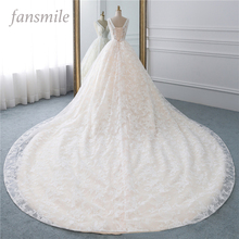 Fansmile Luxus Spitze Lange Zug Ballkleid Hochzeit Kleid 2020 Vestidos de Novia Prinzessin Qualität Hochzeit Braut Kleid FSM 524T