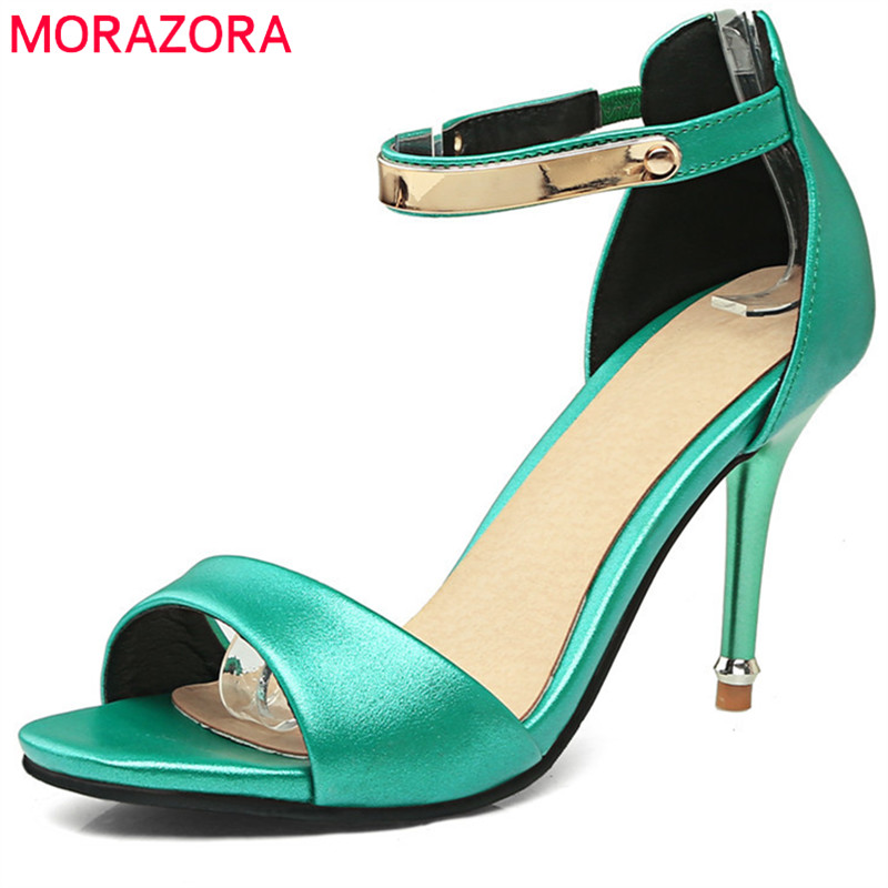 MORAZORA 2018 new style women sandals sweet peep toe fashion shoes sexy pink party wedding shoes big size 34-43 high heel shoes weiqiaona new big size 33 43 fashion women shoes sexy lace ladies sandals mesh stiletto peep toe hollow high heel shoes woman