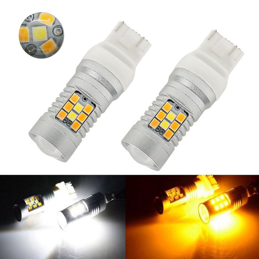 2pcs/Lot High Power T20 7443 White Ambor Dual-Color Switchback 28 SMD LED Turn Signal Brake Backup Lights Bulbs Free Shipping