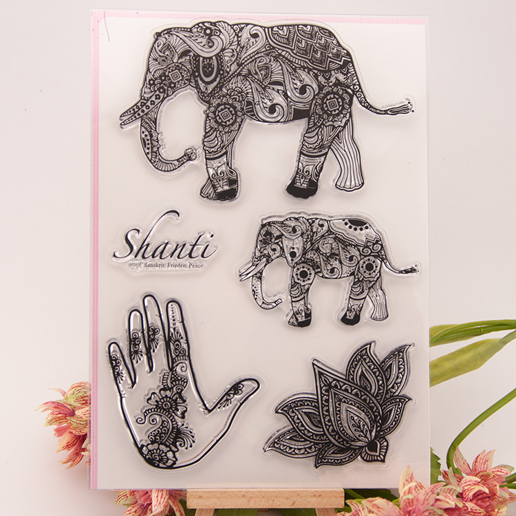 Elephant Animal Scrapbook DIY Photo Album Account Transparent Silicone Rubber Clear Stamps cartoon seal handwork art gift