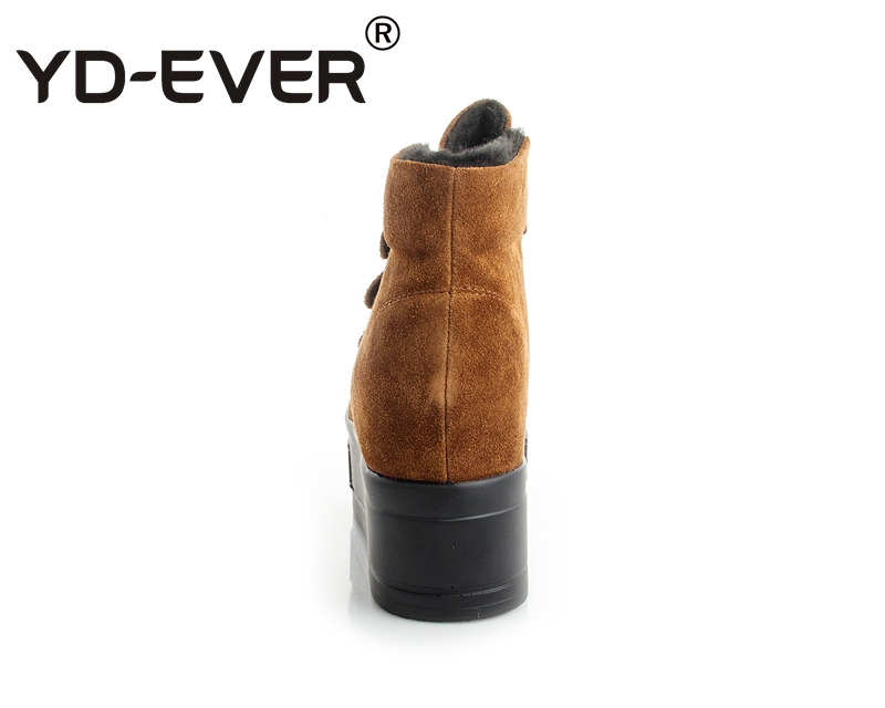 Wedge forme En Casual Sneakers Fur Fourrure Véritable Croissante De Hiver Black Femmes Hauteur Chaussures Neige Daim Bottes ever Chaud Plate Yd No brown Fur Cuir KFl1Jc