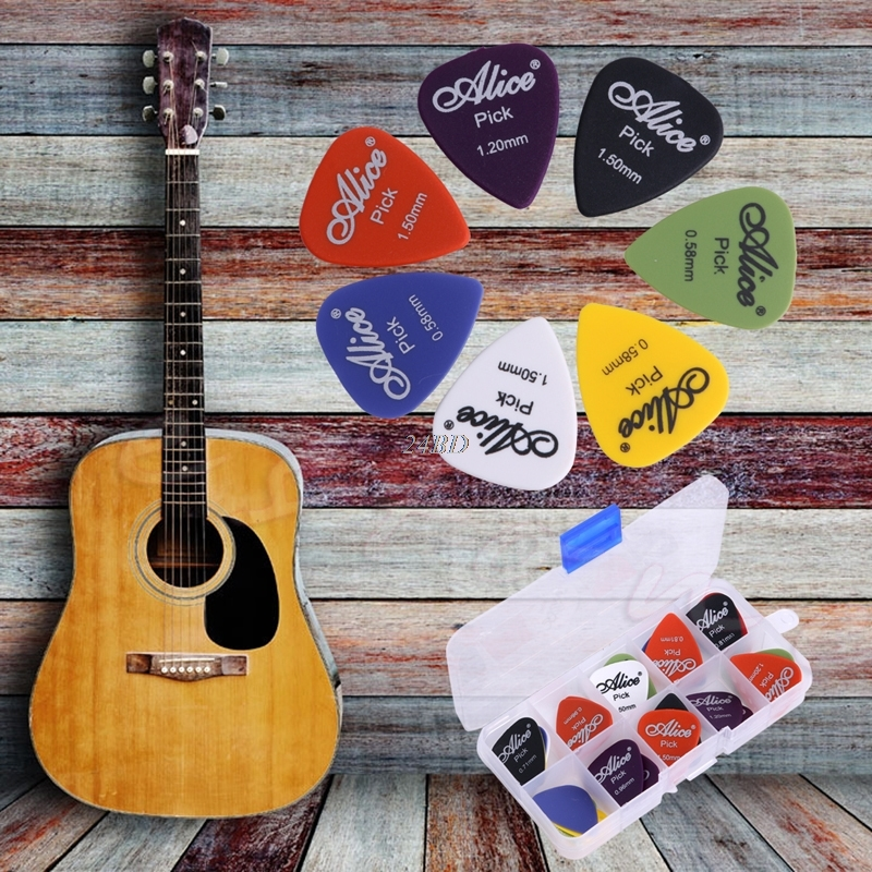 Electric Guitar Acoustic Picks Plectrums Assorted Thickness in Plastic Box 24PCS/SET J24
