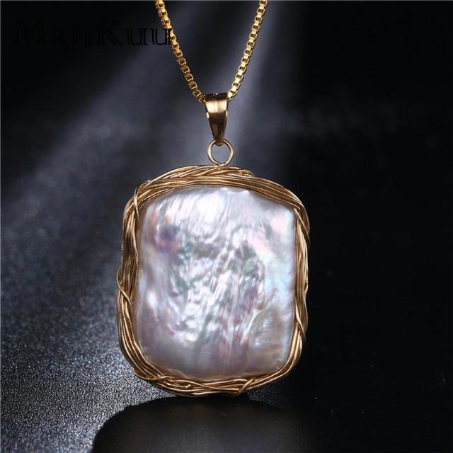 dbbbd91e22cb De estilo barroco Natural blanca agua dulce perla etiqueta collares de oro  de 14 K de