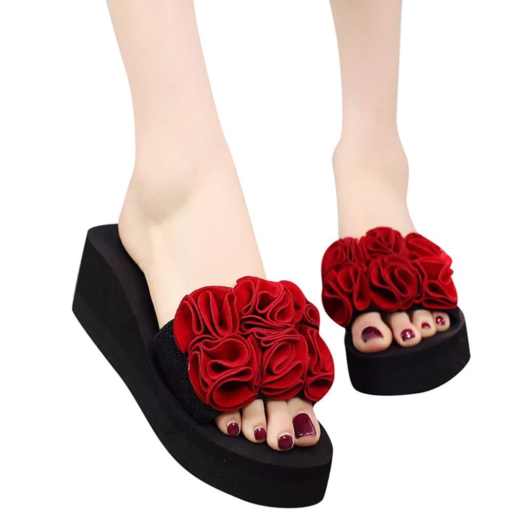 2019 Flower Slippers Women Pink Red Leaves Rhinestone Fur