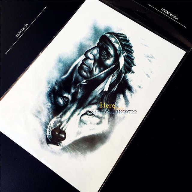 Online Shop 1pc New Design 3d Indian Warrior Man Temporary Tattoo