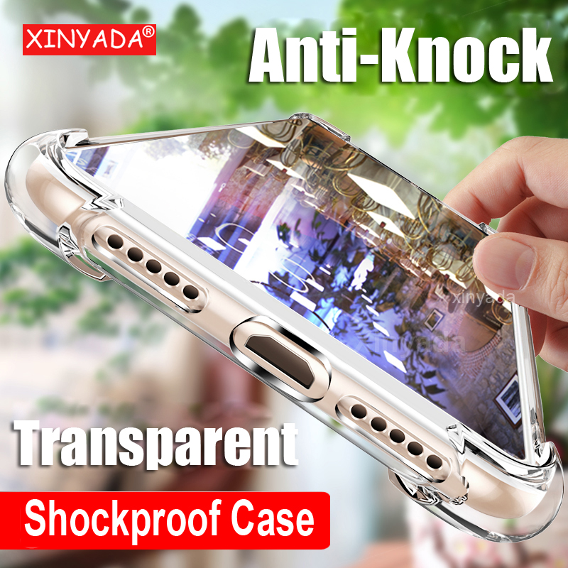 luxury Clear Soft Silicone Bumper Case For Samsung Galaxy A6+ A6 Plus A7 A9 2018 Air Cushion Shockproof Cover protector Shell 360 degrees