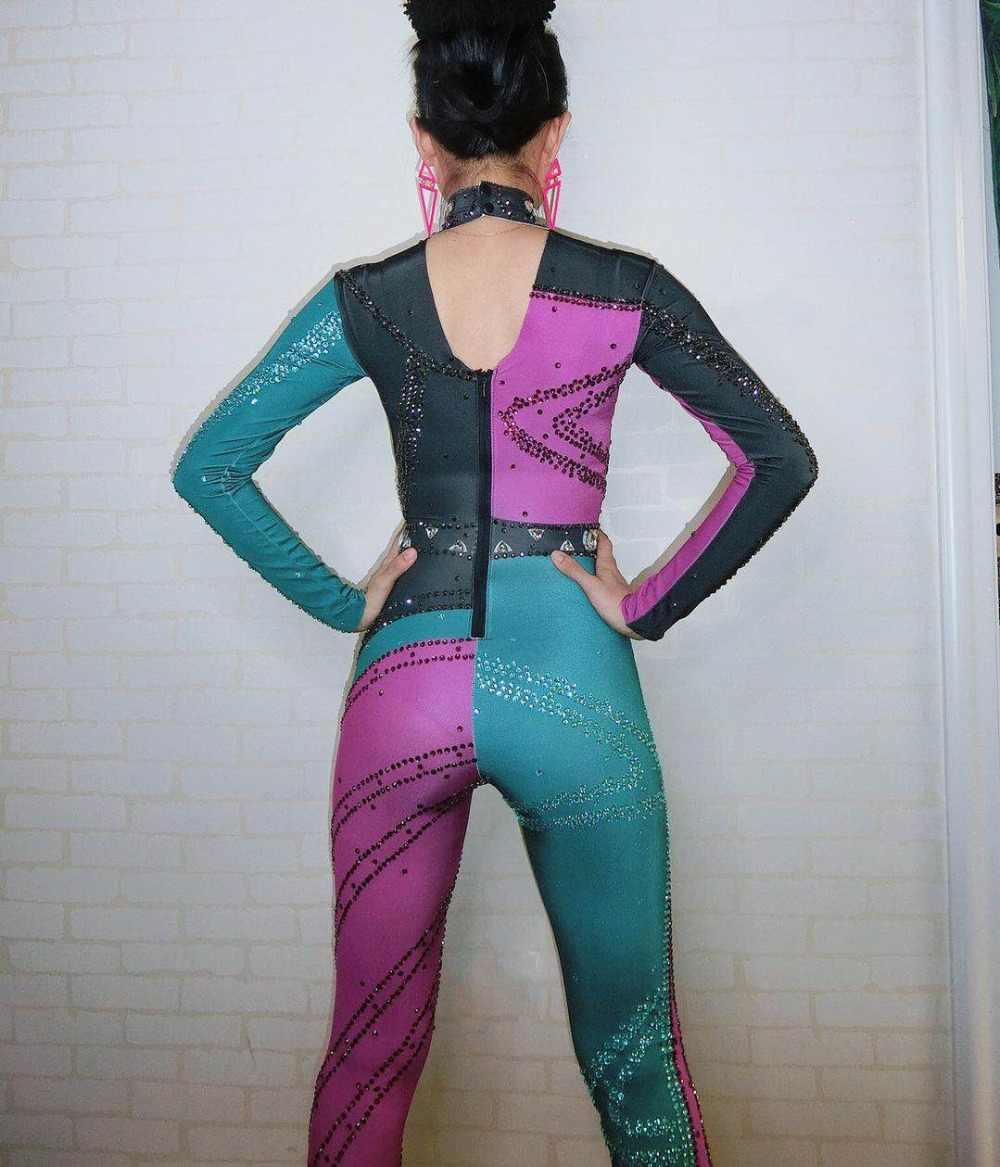 الملونة الراين بذلة طويلة الأكمام الكبيرة تمتد مثير ارتداءها ملهى ليلي حزب اللباس زي من قطعة واحدة الرقص طماق