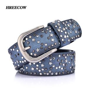 Image 1 - Divisão de couro + pu rebite inposição estrelas cinto para mulheres feminino fivela cinto marcas de luxo cinto feminino