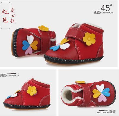 2016 Nueva Baby Girl Boy Zapatos del Niño del Niño de Algodón Acolchado Zapatos de Cuero Genuino Zapatos de Invierno Suave 0-1-2 Años Primeros caminantes