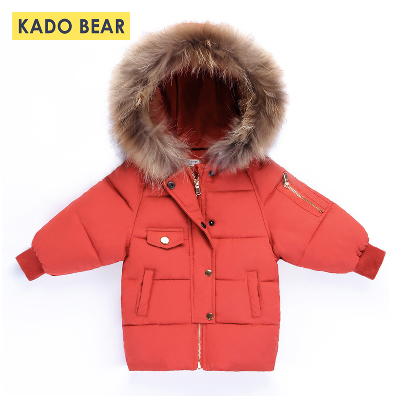Girls Down Fur Collar Coats Hooded Girl Winter 2018 Boys Jackets Thick Warm Kids Clothes Long Sleeve Snowsuit Children Outerwear girls thick winter down coat fur collar warm kids jackets fashion hooded baby girl long coats zipper outerwear children clothes