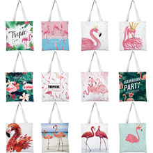 2019 Flamingos Print Women Tote Bags Canvas Shopping Bag Shoulder Bags for Women Students Ladies Handbags купить дешево онлайн