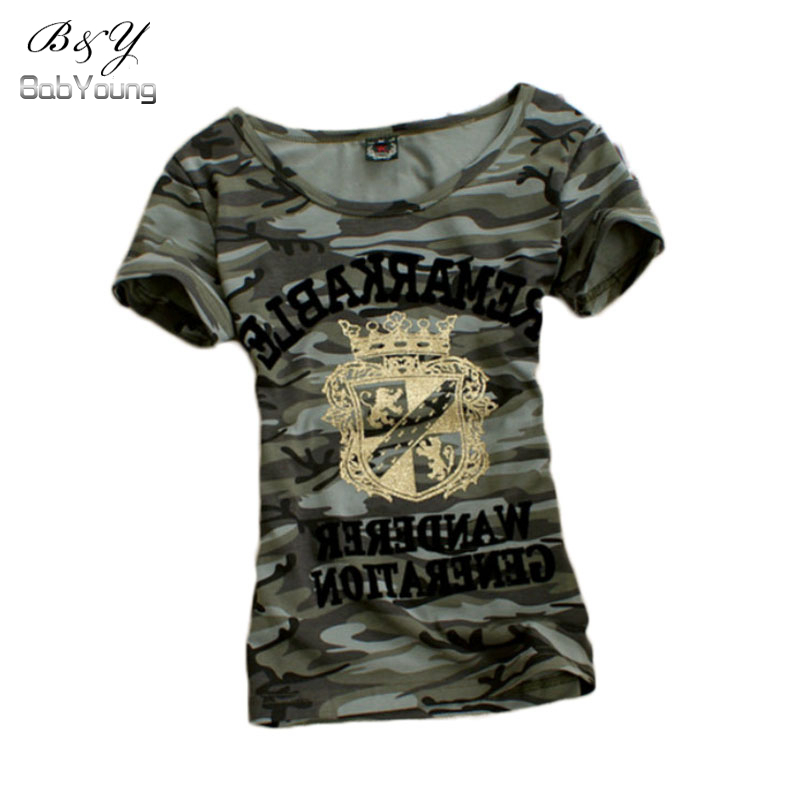 grown pattern t shirt women camouflage military uniform slim tee shirt. Black Bedroom Furniture Sets. Home Design Ideas