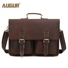 AUGUR High Quality Handbags Men Genuine Leather Bag Vintage Large Capacity Laptop Bag Cow Leather Designer Shoulder Bag For Men