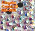 Ss6, Ss8, Ss10, Ss12, Ss16, Ss20, Ss30, Ss34, Ss40 cristal AB DMC ferro em pedrinhas / Hot fix cristal pedrinhas