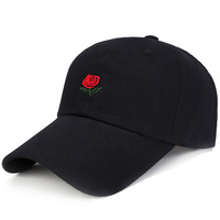 Spring and Summer Embroidered Flower Baseball Cap with Gothic letter logo Curved peak Cotton Dad Hat for Men Women Black Pink