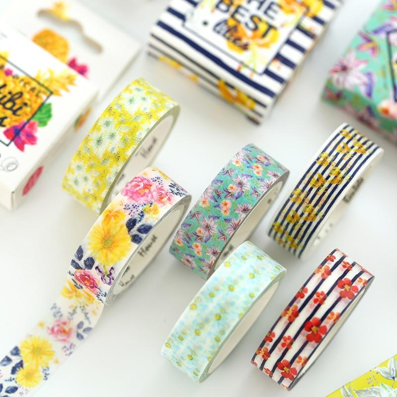 1.5CM Wide Sumer Flower Washi Tape Adhesive Tape DIY Scrapbooking Sticker Label Floral Masking Tape 1 5cm wide simple geometry washi tape adhesive tape diy scrapbooking sticker label masking tape