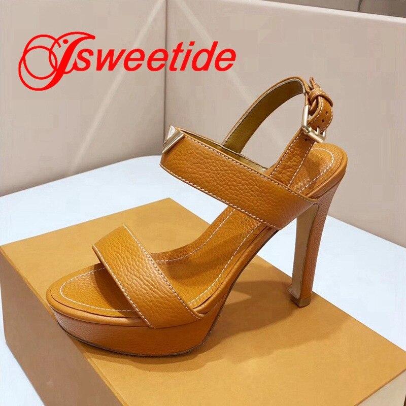 الشهيرة مصمم النساء زقزقة اصبع القدم SandalsLitchi الحبوب جلد البقر للماء منصة عالية الكعب جلد طبيعي الصنادل المريحة-في كعب عالي من أحذية على  مجموعة 2
